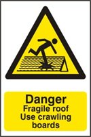 Danger Fragile roof Use crawling boards - PVC (400 x 600mm)